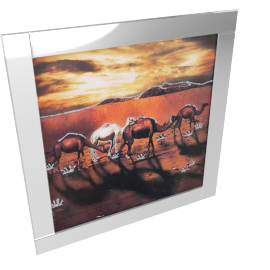 Lama Mirror Framed Picture - 86x86 cms