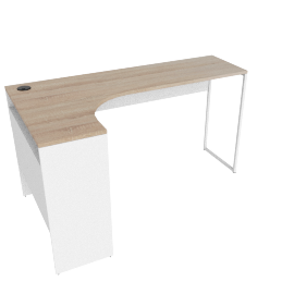 Function Corner Desk W/Usd+Power Socket-Oak/White