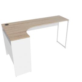 Function Corner Desk W/Usd+Power Socket-Oak/White