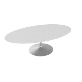 Saarinen Oval Dining Table 96'', Laminate - Platinum.White