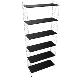 String Floor Shelving - 1 Bay - 32'', Black