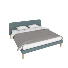 Parallel King Bed, Ducale Wool Robin's Egg with Oak legs