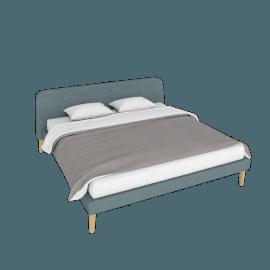 Parallel King Bed, Ducale Wool Robin's Egg with Oak legs