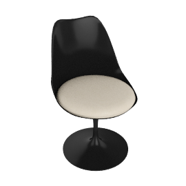 Saarinen Tulip Armless Chair - Volo Leather - Black.Ivory