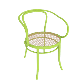 Era Round Armchair with Cane Seat - Green