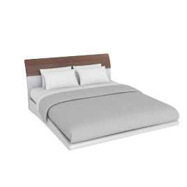 Alexis 180x210 Bed, HG Light Grey/Walnut
