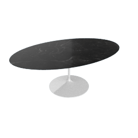 Saarinen Oval Dining Table 78'', Natural Granite - Wht.BlackAndes