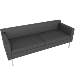 Theatre Sofa, Vienna Leather Slate with Chrome base