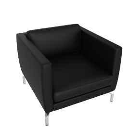 Comolino Armchair, Kalahari Leather, Black