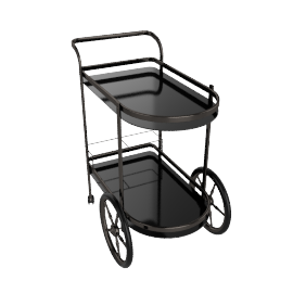 Notica Serving Trolley, Smoked Silver