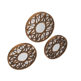 Kaptai Set Of 3 Wall Decor 25X1.8X25Cm-Brushed Gold
