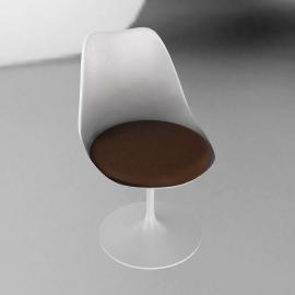 Saarinen Tulip Armless Chair - Volo Leather - White.Choco