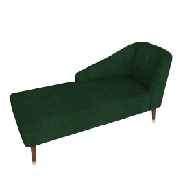 Margot LHF Chaise, Forest Green Velvet