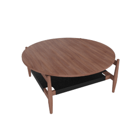 Risom Round Coffee Table, Walnut/Black