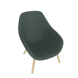 About A Lounge 92 Armchair, High Back, Canvas 2 0996 Dark Green / Oak