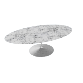 Saarinen Oval Dining Table 96'', Coated Marble 1 - Plt.Arabescato