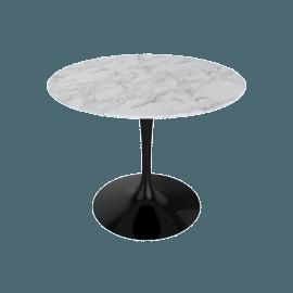 Saarinen Round Dining Table 35'', Coated Marble 1 - Blk.Calacatta