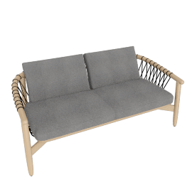 Crosshatch Settee, White Ash Frame, Heathered Grey Fabric