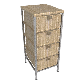 Seagrass Storage Unit, 4 Drawer