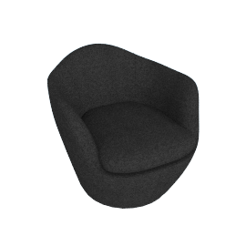 Lina Swivel Chair, Noble fabric - Heathered Black