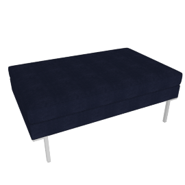 Theatre Ottoman, Lama Tweed Fabric, Indigo