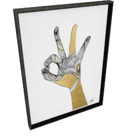 Sign Language II by KelliEllis - 24''x32'', Black