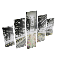 Central Roads 5-Piece Wall Art - 160x2.5x120 cms