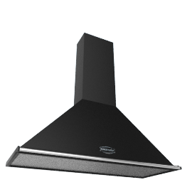 Rangemaster Classic 120 Cooker Hood, Black with Chrome Rail