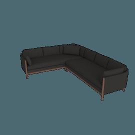 Emmy Sofa Corner Sectional, Left, Pebble Weave - Cinder