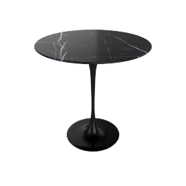 Saarinen Side Table - Coated Marble 1 - Black.Nero
