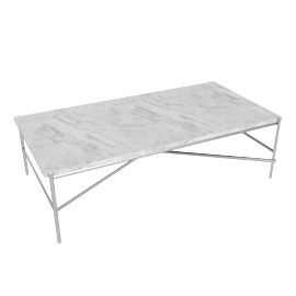 Outline Rectangular Coffee Table, Stainless Steel Base Carrara Top