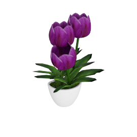 Tulip with Wall Mounted Pot 34 cms, Purple