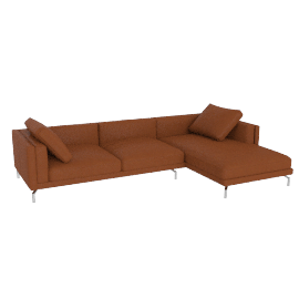 Como Sectional Right Chaise, Kalahari Leather - Canyon