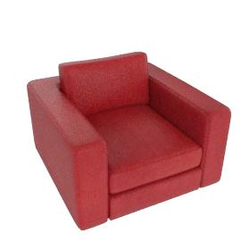 Reid Armchair in leather, rouge