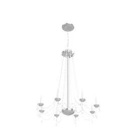 Abigail Chandelier, Chrome/Clear Glass, 7 Arm