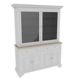 Neptune Chichester 5ft Glazed Dresser, Limestone