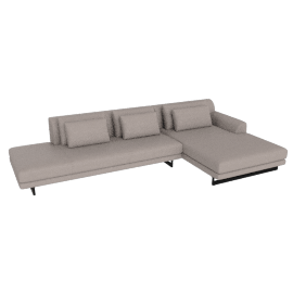 Lecco Open Sectional with Chaise, Kalahari Leather - Grey with Black Base