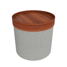 Drum Pouf, High - Light Grey
