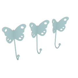 Butterfly Wall Hooks - Set of 3, Blue