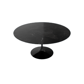 Saarinen Round Dining Table 60'', Natural Granite - Blk.BlackAndes