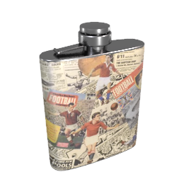Retro Football Print Hip Flask