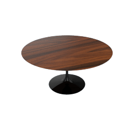 Saarinen Round Dining Table 60'', Rosewood - Black.Rosewood