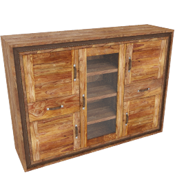 Wolfmoebel SHAN - Highboard mit 1 Glas/4 Holztüren/2 Schubladen