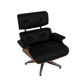 Eames Lounge Chair, Walnut Shell with Black Vicenza Leather