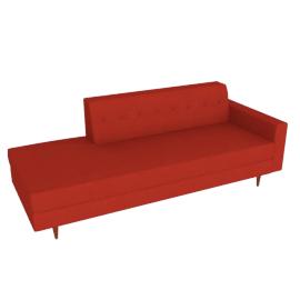 Bantam Studio Sofa, Right in Basket Fabric - Crimson.Walnut