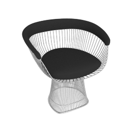 Platner Armchair, Nickel frame and Knoll Boucle - Onyx