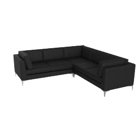 Albert Corner Sectional in Sierra Leather - Black