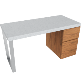 Boston Desk-Concrete/Brn