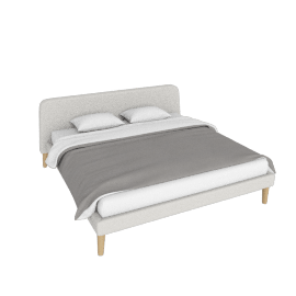 Parallel King Bed, Maharam Mode Shell w/ oak legs