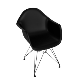Eames DAR Dining Armchair , Black with Black Base